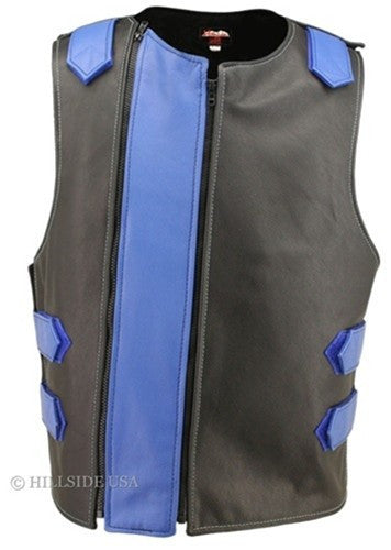 Made in USA Dual Front Zipper Bulletproof Style Leather Biker Vest Black/ Blue