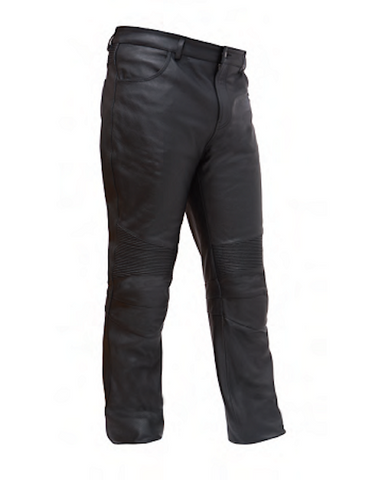 Mens Black Leather Updated 4 Pocket Jean Style Pants Pre-Curve Knee Detail