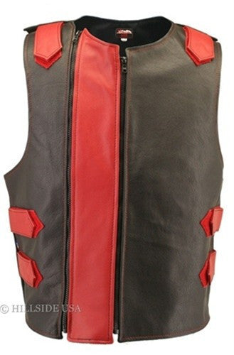 Made in USA Dual Front Zipper Bulletproof Style Leather Biker Vest Black/Red