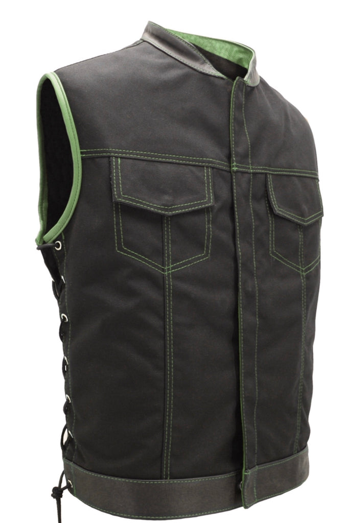 Mens Made in USA Black And Green Military Grade Cordura Motorcycle Vest Hidden Snaps