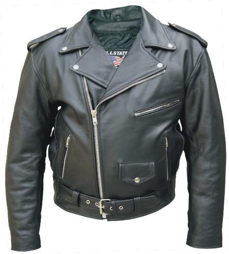 Black Split Cowhide Classic Leather Motorcycle Jacket