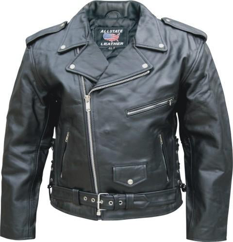 Black Cowhide Classic Leather Motorcycle Jacket With Side Laces
