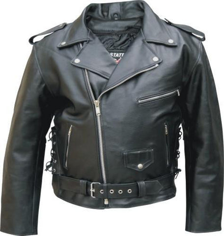 Black Classic Buffalo Leather Motorcycle Jacket Zip Out Liner Side Laces