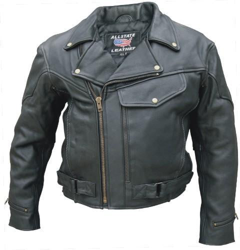 Black Buffalo Leather Vented Motorcycle Jacket Zip Out Liner
