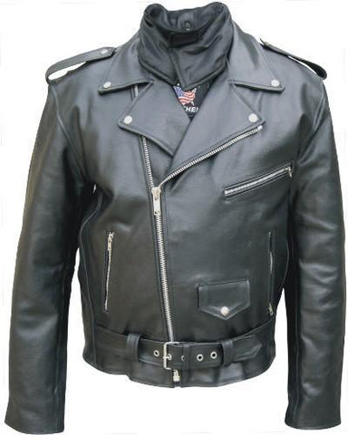 Men's Basic Black Leather Motorcycle Jacket With Neck Warmer