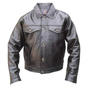 Men's Basic Denim Style Black Leather Motorcycle Jacket