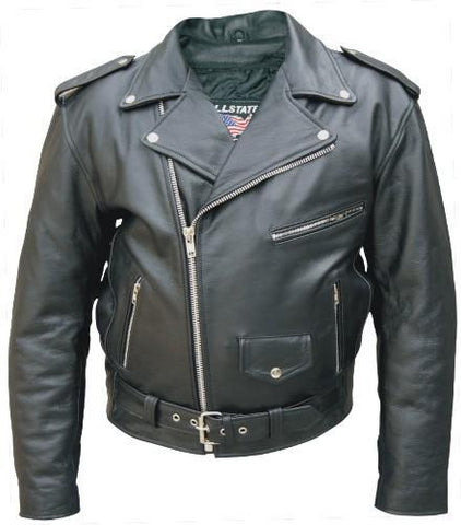 Men's Tall Classic Water Buffalo Leather Motorcycle Jacket