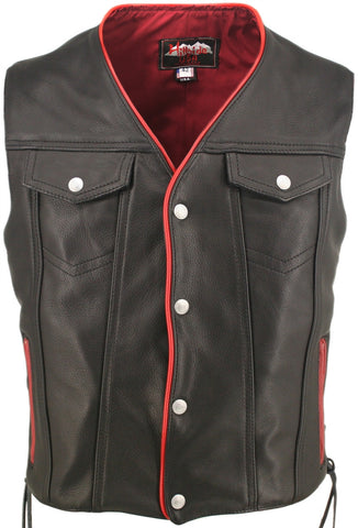 Men's Made in USA Naked Leather Motorcycle Vest Red Trim Leather Lined Gun Pockets