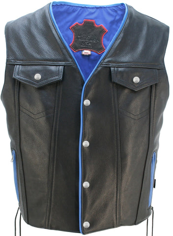 Men's Made in USA Naked Leather Motorcycle Vest Blue Trim Leather Lined Gun Pockets