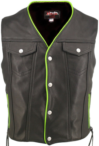 Men's Made in USA Naked Leather Motorcycle Vest Green Trim Leather Lined Gun Pockets