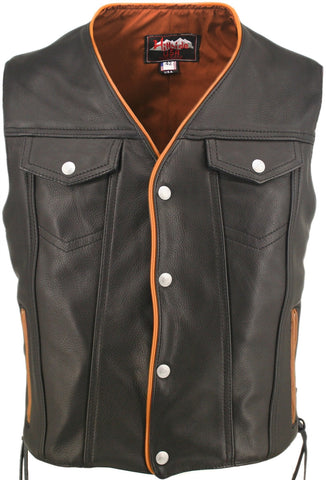 Men's Made in USA Naked Leather Motorcycle Vest Orange Trim Leather Lined Gun Pockets