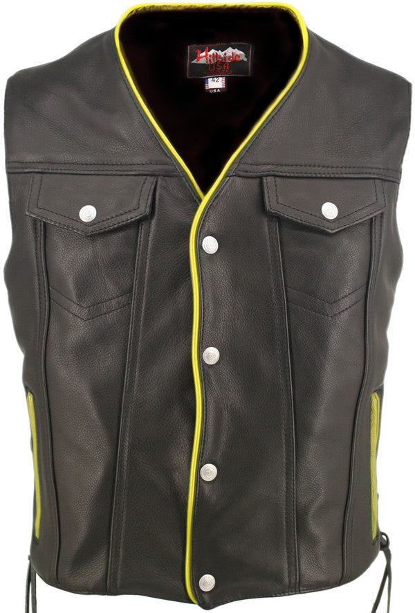 Men's Made in USA Naked Leather Motorcycle Vest Yellow Trim Leather Lined Gun Pockets