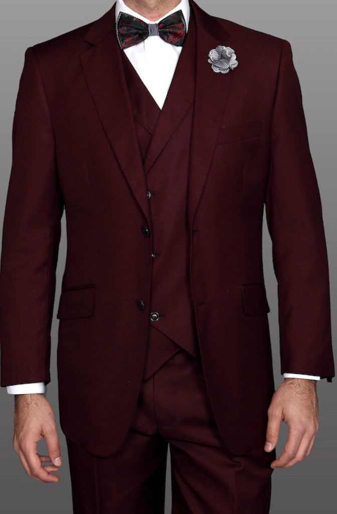 Mens Burgundy 150's Wool Designer Business Suit Double Breasted Vest 44-52