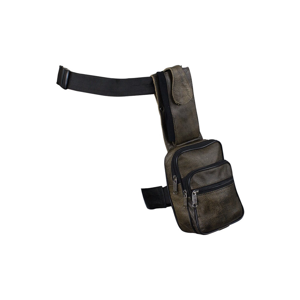 Brown Premier Leather Thigh Bag with Gun Pocket