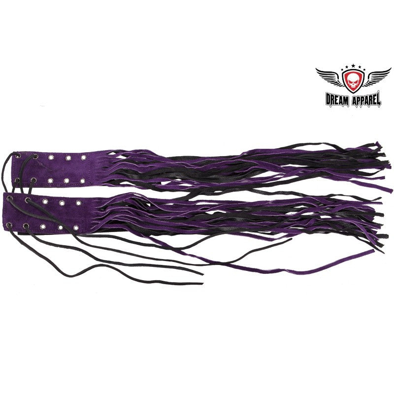Purple and Black Motorcycle Fringed Brake Clutch Cover