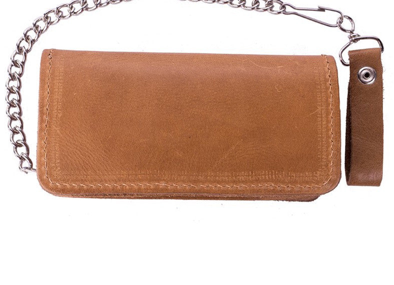 Tan Leather Bifold 4 Compartment Wallet With Zipper Closure