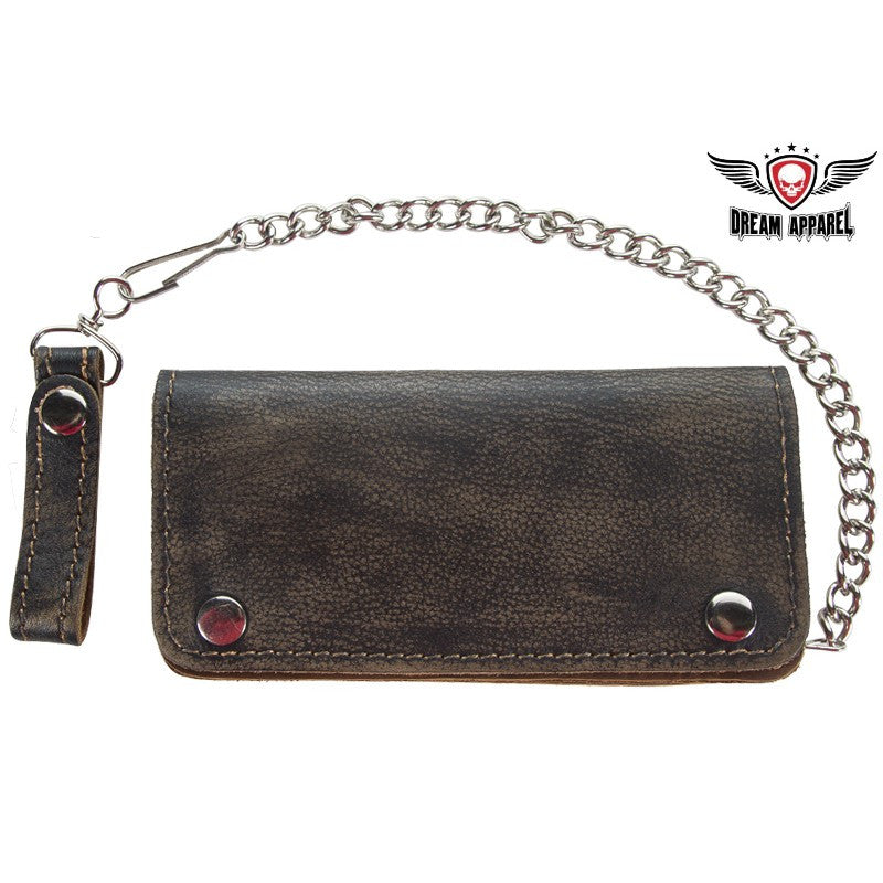 Distressed Brown Leather Bifold 6 Compartment Chain Wallet