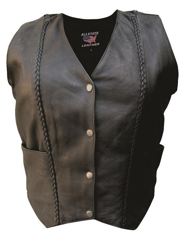Women's Drum Dyed Naked Leather Motorcycle Vest Vertical Braid Front and Back