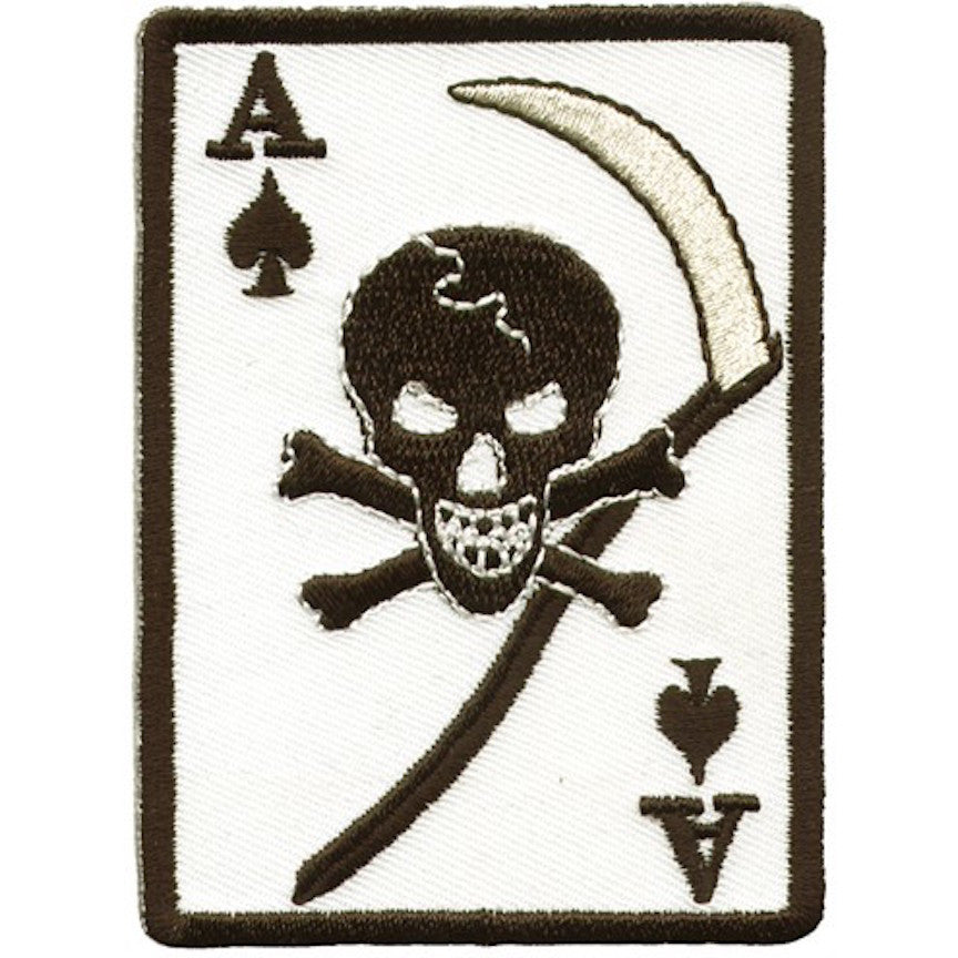 "Ace Of Spades With Grim Reaper Skull Large Motorcycle Vest Patch 8.5"" x 6"""