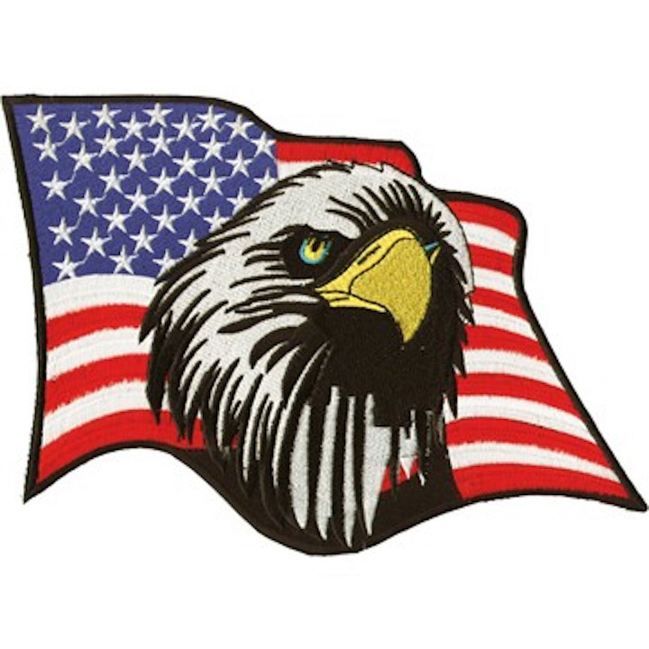 "American Flag With Eagle Head Medium Motorcycle Vest Patch 7"" x 8.5"""