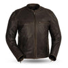 Mens Antique Brown Motorcycle Jacket Armored Pockets Concealed Carry Kevlar Reinforcements