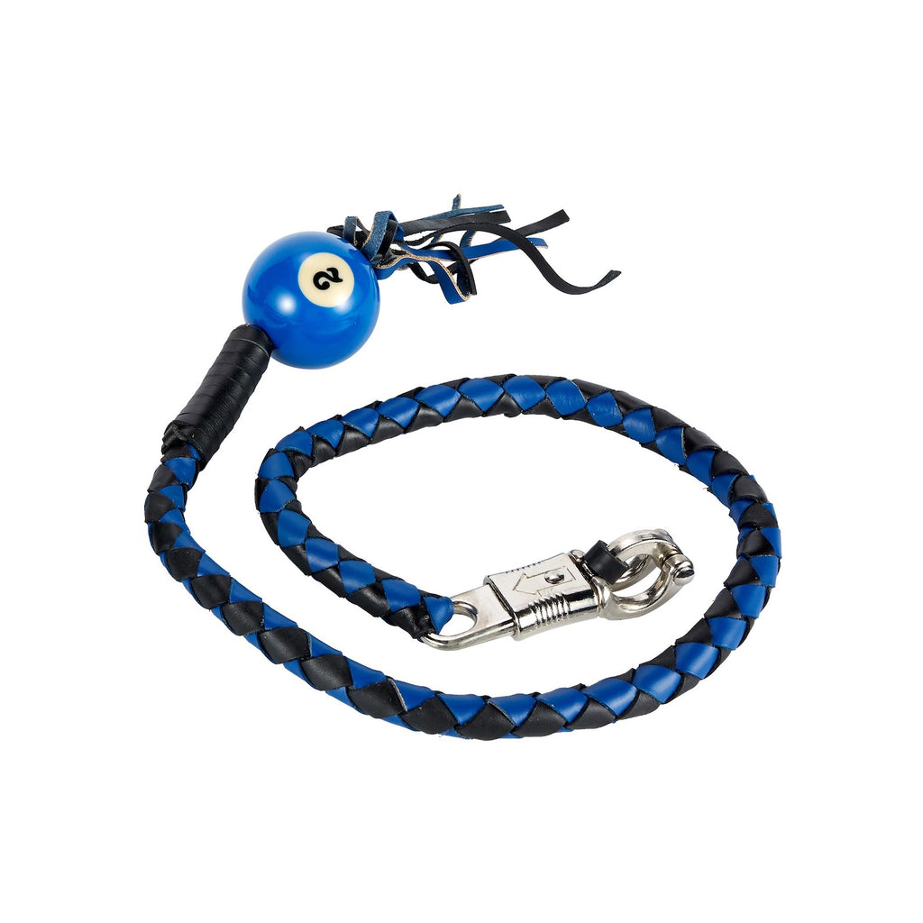 Black And Blue Fringed Get Back Whip With Pool Ball
