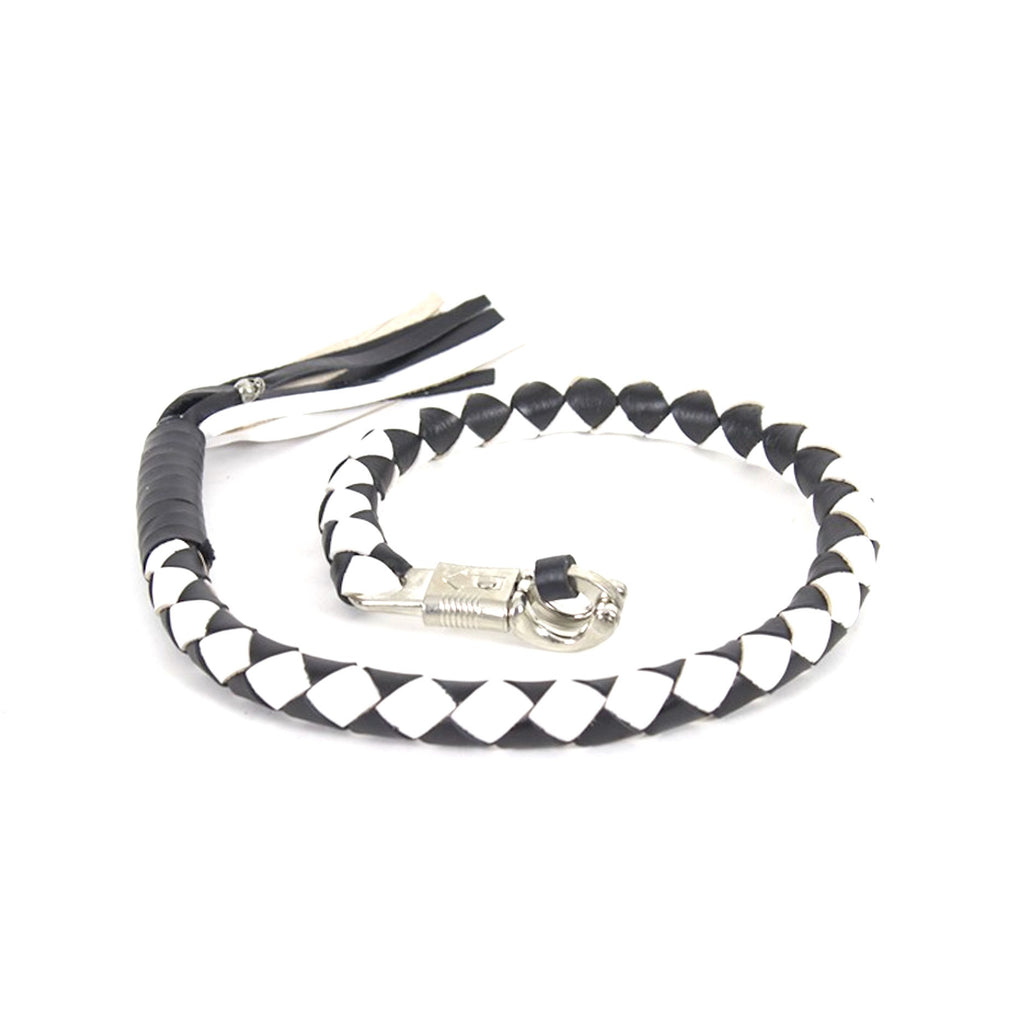 "Black And White Get Back Whip For Motorcycles 3"" circumference"