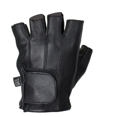 Black Deer Skin Leather Motorcycle Fingerless Gloves