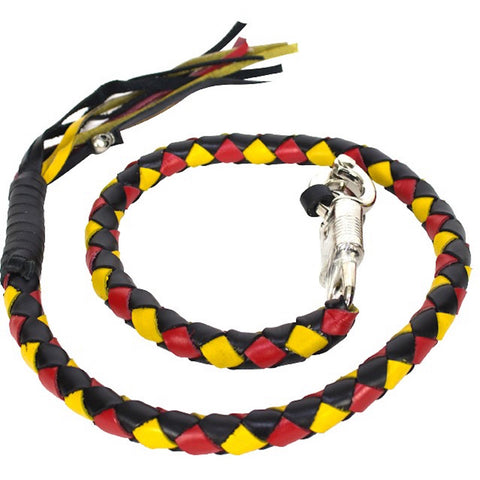 "Black/Yellow/Red  Get back Whip 42"" Inch Long Hand-Braided"