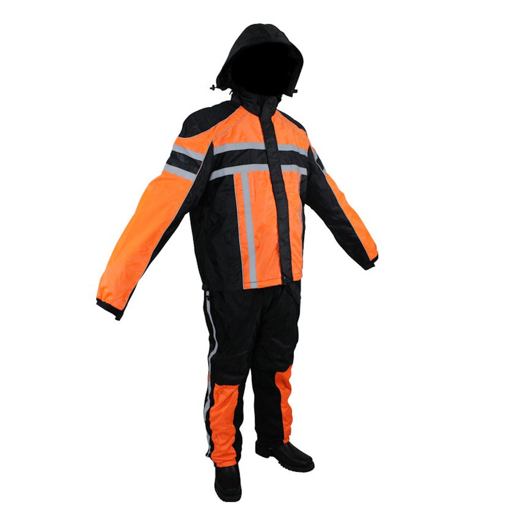 Bright Black/Orange Textile Two-Piece Rain Suit With Night Vision Reflectors On Front And Back