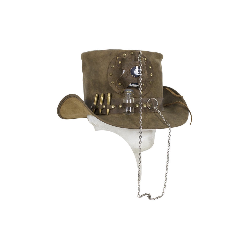 Brown Naked Leather Deadman Top Hat