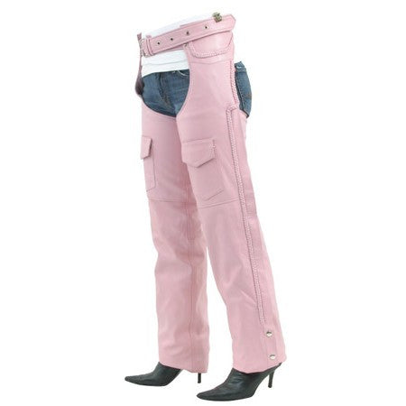 Womens Pink Braided Leather Motorcycle Chaps Covered Zipper with Flap & Mesh Lining