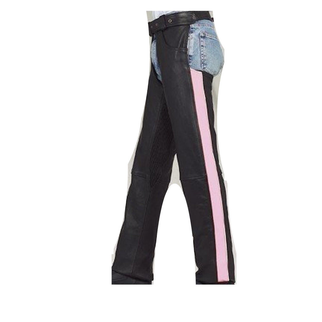 Women's Black Leather Chaps with Pink Reflective Stripe