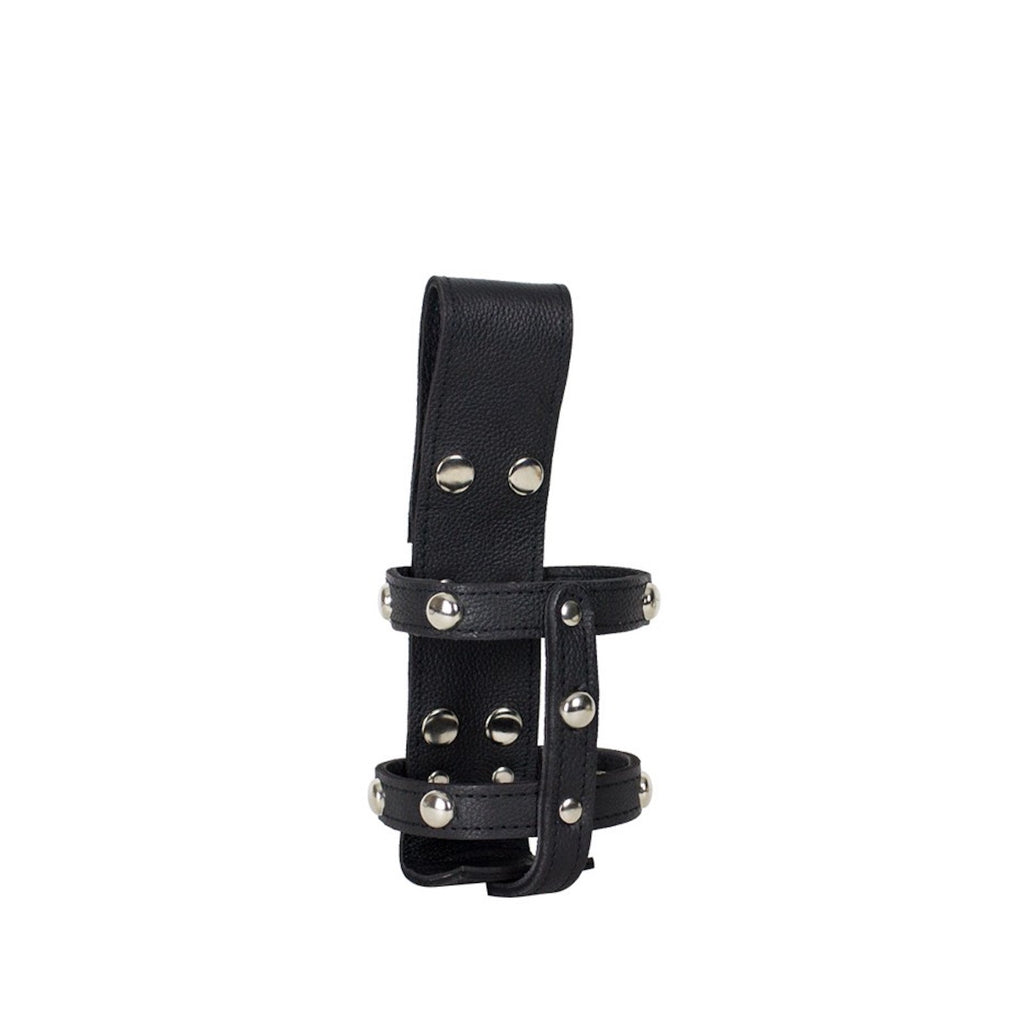 Black Leather Studded Motorcycle Cup Holder with Button Snaps