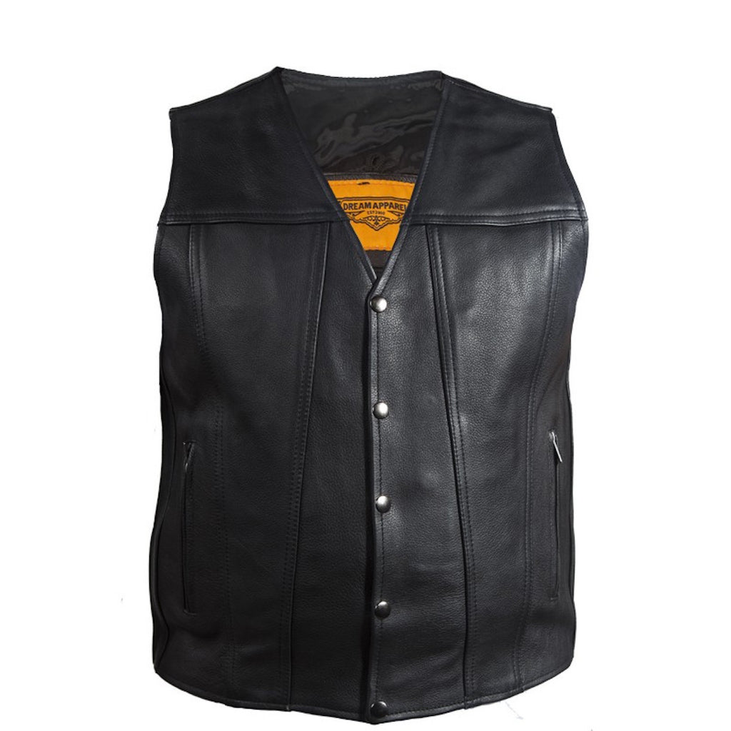 Mens Classic Leather Motorcycle Club Vest With Gun Pockets