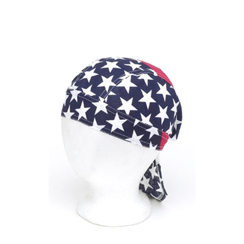 Cotton Skull Cap Headwrap With USA Stars and Stripes