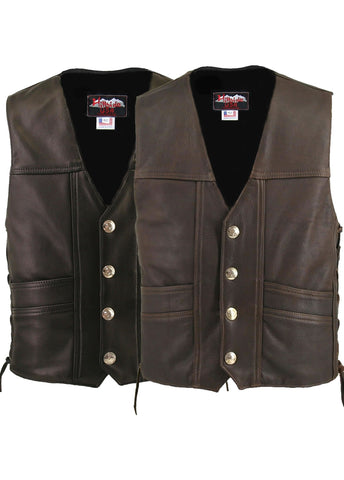 Men's Made in USA Black or Brown Naked Leather Buffalo Nickel Cruising Biker Vest Gun Concealment Pockets