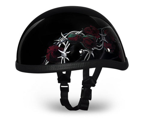 Daytona Eagle Novelty Motorcycle Helmet with Rose and Thorns