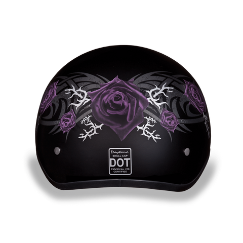 Daytona D.O.T Skull Cap Motorcycle Helmet Purple Rose