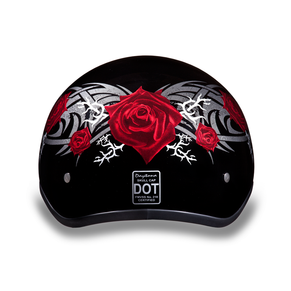Daytona D.O.T Skull Cap Motorcycle Helmet with Red Rose