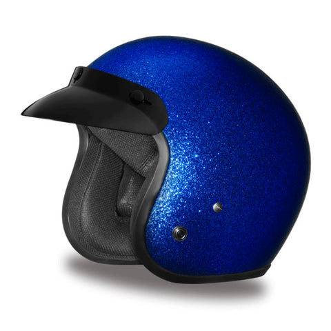 Daytona D.O.T Cruiser Motorcycle Helmet 3/4 Shell Blue Metal Flake