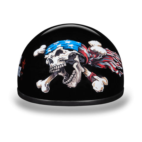 "D.O.T Skull Cap Motorcycle Helmet with Patriot Skull ""these colors don't run"" logo"
