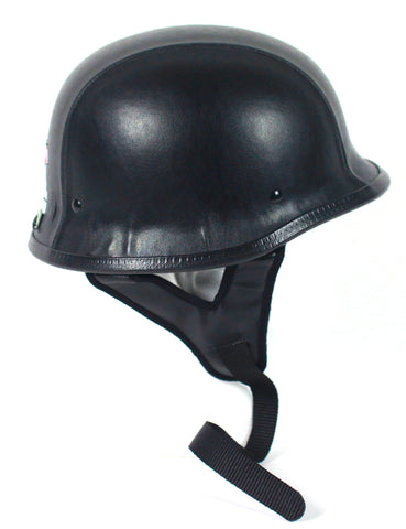 DOT Certified Leather German Style Motorcycle Biker Helmet