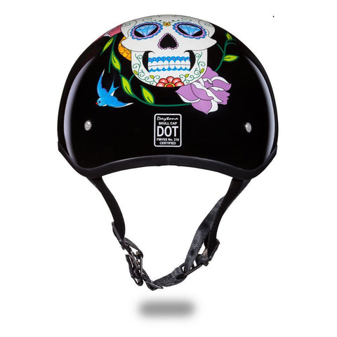 Daytona D.O.T Skull Cap Motorcycle Helmet With Diamond Skull