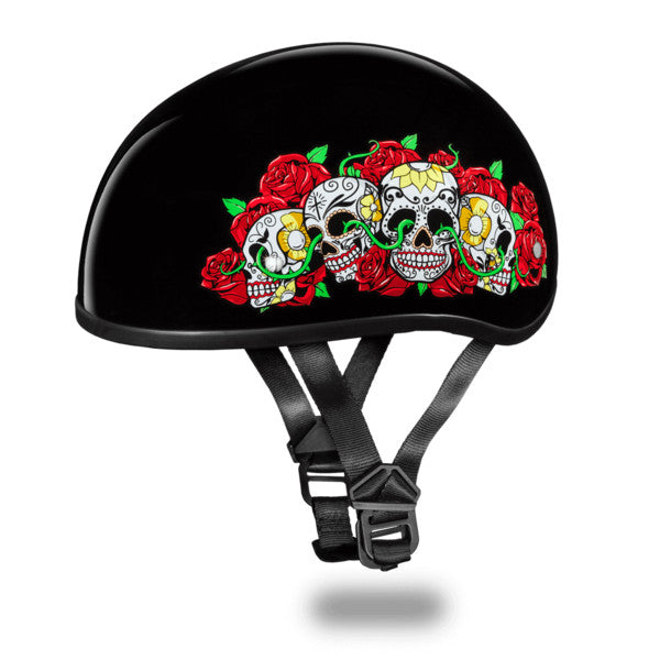 Daytona D.O.T Skull Cap Motorcycle Helmet With Rose Skulls