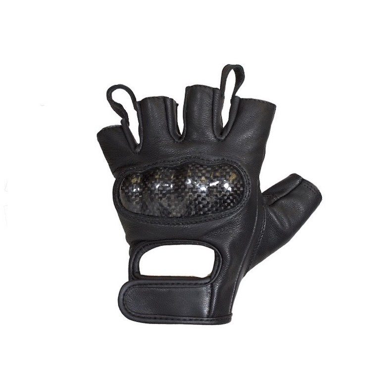 Deerskin Leather Fingerless Motorcycle Gloves With Hard Knuckles