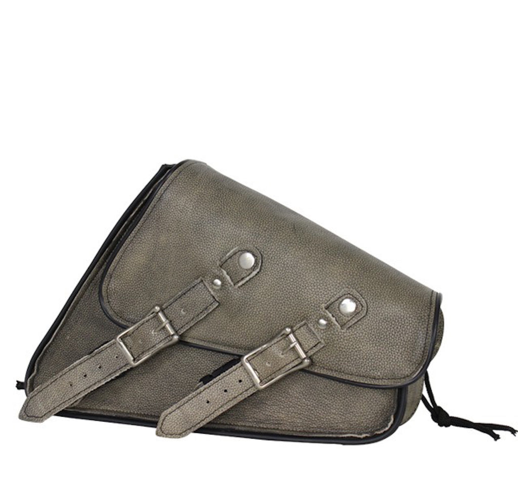 Distressed Brown Left Side Leather Swing Arm Motorcycle Tie Down Bag