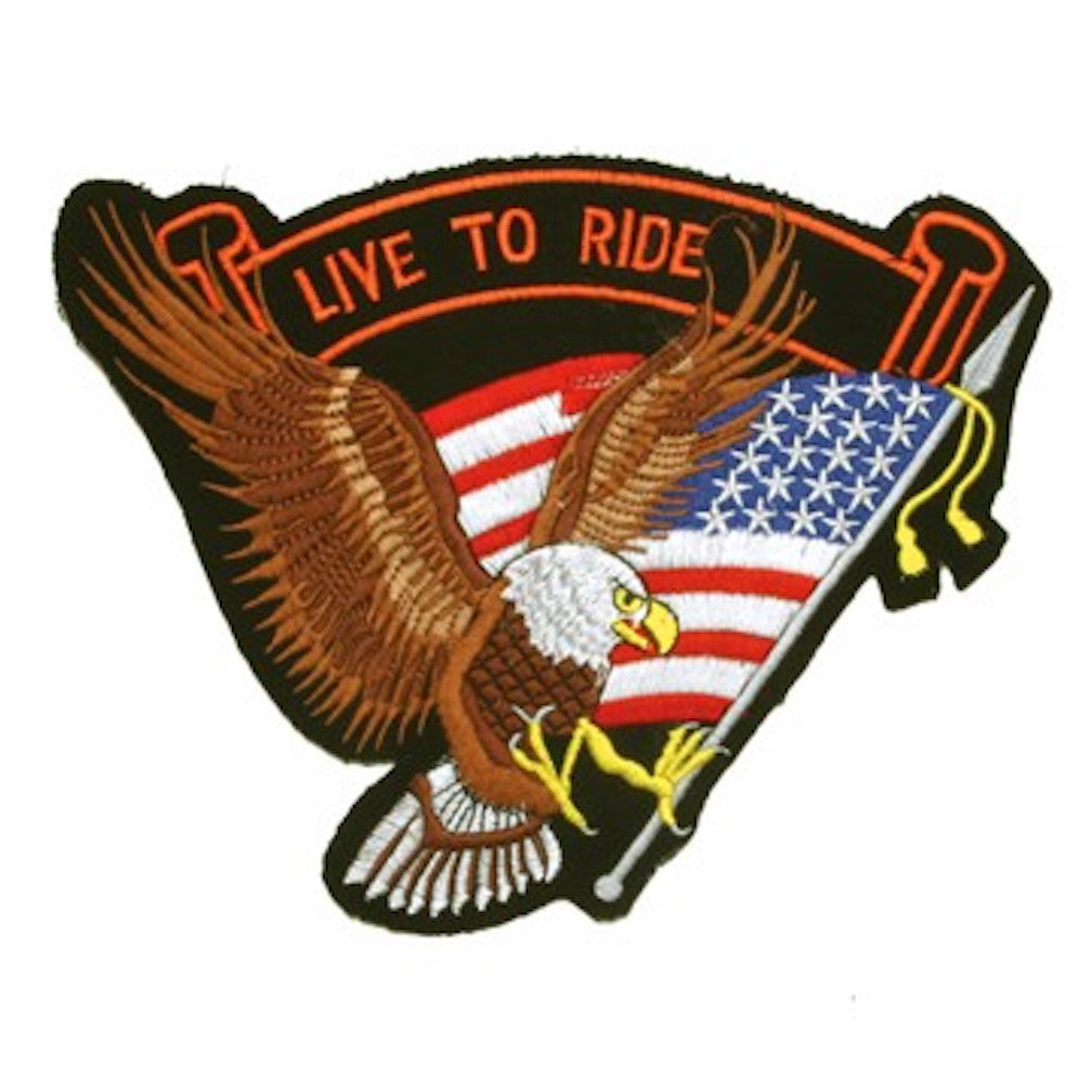 "Eagle American Flag ""Live to Ride"" Medium Motorcycle Vest Patch 7"" x 8.5"""