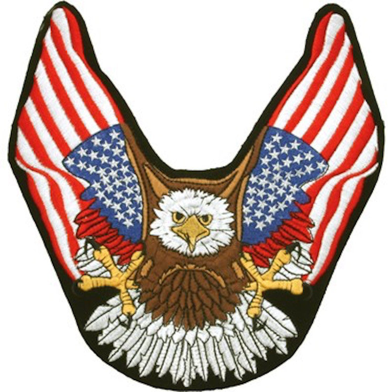 "Eagle With American Flag Wings Large Motorcycle Vest Patch 10"" x 9.5"""
