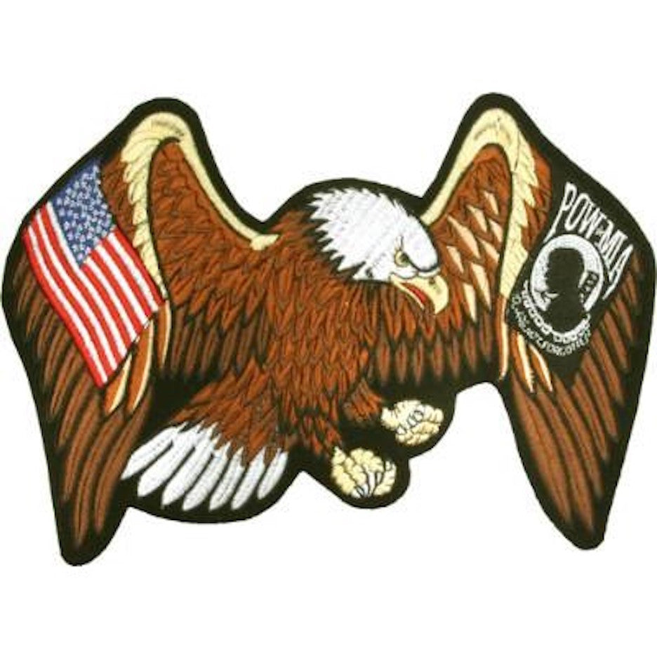 "Eagle with USA Flag And POW-MIA  Large Motorcycle Vest Patch 9"" x 13"""